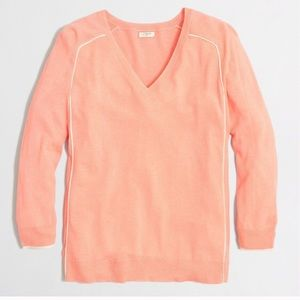 J. CREW Tipped Side-Panel V-Neck Sweater